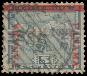 CANAL ZONE 1904 5c BLUE USED #2 well-centered 1904 CDS with 2021 William T. Crow