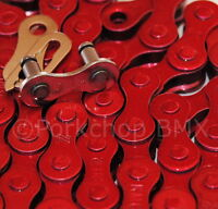 "KMC Z410 BMX fixie single speed bicycle chain 1/2"" X 1/8"" 112L RED METALLIC"