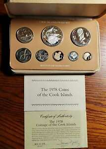1978 COOK ISLANDS - OFFICIAL PROOF SET (8) w/ $5 SILVER CROWN & COA - BEAUTY