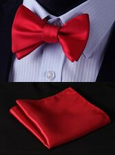 Pure Red Solid Silk Bowtie Men Self Bow Tie Handkerchief Set#BL21R