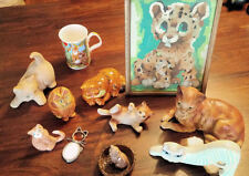 11 Lot Vintage Tabby Cat Figurines ~ Ceramic, Porcelain, Stained Glass, Wood