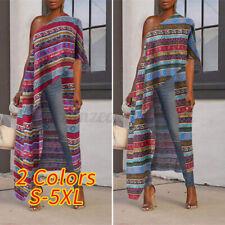 Women Summer One Shoulder Tops Asymmetric Shirt Printed Tunic Oversized Blouse