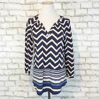 Lucky Brand Women's Navy Blue Chevron Boho Peasant Shirt Top Size Medium