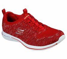Skechers Red Shoes Memory Foam Women Slipon Comfort Casual Sporty Walking 104023