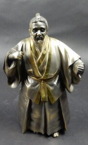 Antique Japanese Gilt Bronze And Silver Figure Of Elderly Samurai Man 10  Inches