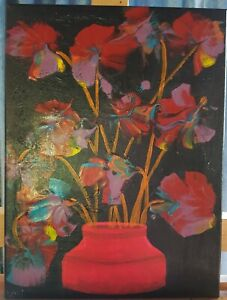 original ART, flowers in a Red vase,  STRETCHED CANVAS, 30 cm x 40 cm,