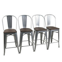 "4× Metal Bar Stools 24"" Counter Chairs Bar Chair High Back Wooden Seat Silver"