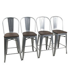 """4× Metal Bar Stools 24"""" Counter Chairs Bar Chair High Back Wooden Seat Silver"""