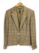 Womens Ralph Lauren Size 16 Brown Tan Houndstooth Blazer Lined Suit Jacket