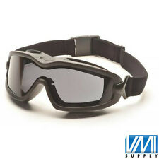 PYRAMEX V2G PLUS XP Smoke Gray Anti-Fog Black Safety Goggles Dual Mold GB6420SDT