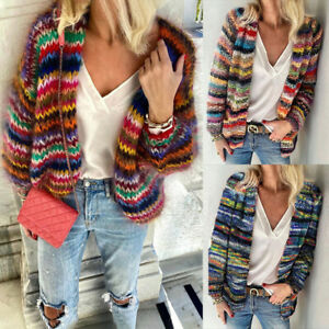 Women Warm Cardigan Knitted Striped Sweater Coat Loose Multicoloured Jacket New