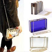 Women Transparent Acrylic Clutch Purse Chain Evening Banquet Handbag Hot Bag