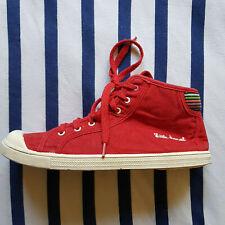 Hübsche Stoffschuhe / Sneakers von Little Marcel, 39, rot mit bunten Streifen