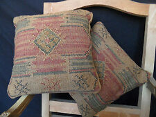 New INDIAN KILIM KELIM Jute & Wool Aztec Design HAND WOVEN CUSHION & Cover