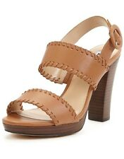 BN Dune Size 6 7 8 Ibby Tan Real Leather Block High Heel Shoes Sandals UK 6