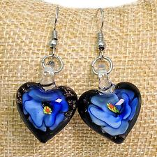 Negro y Azul Flor Murano Vidrio Pendientes Largos Corazón