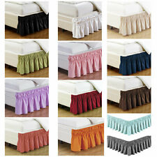 """Elastic Bed Skirt Queen King Size 14"""" Dust Ruffle Silky Soft & Wrinkle Free"""