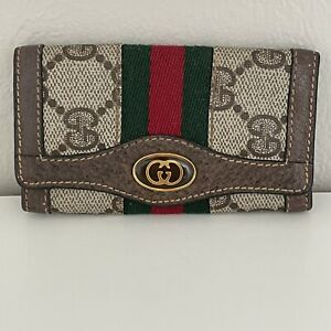 Vintage Gucci Accessory Collection GG Monogram Canvas Leather Web GG Key Holder
