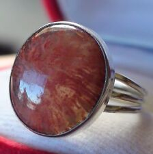 BEAUTIFUL! NATURAL PINK RED CORAL RING 925 STERLING SILVER. SIZE 8.0