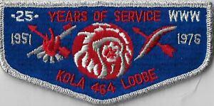 OA Kola Lodge 464 1951-1976 25 Yrs. Of Service Flap SMY Bdr. Longs Peak [MX-7825