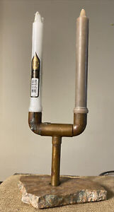Vintage Copper & marble Candle Holder Candlestick Modern industrial Design