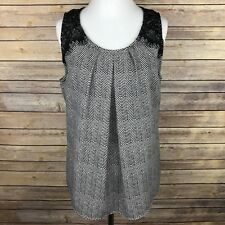 Candies Lace Top Blouse Size L Sleeveless Black White Chevron Career Zipper Back