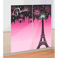 PARIS SCENE SETTER Wall Photo Backdrop Party Decorations Eiffel Tower Pink Black