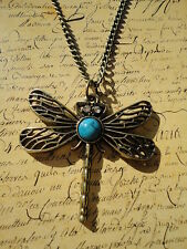Dragonfly Crystal Eyed Blue Stone Bronze Costume Jewellery Necklace