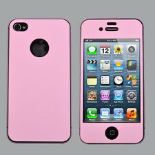 Color Full Body Screen Protector Case Cover Film Skin For iPhone 4S Pink