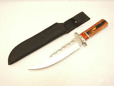 Utility Survival Hunting Camping Bowie Knife W/ Wood Handle & Sheath - Sharp