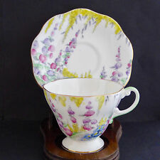 Vtg EB Foley Shelley Tea Cup Saucer 2499 Pink Flowers Footed Scalloped England
