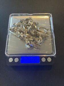 """Nice 218 Grams Sterling Silver Scrap or Not Figaro Chain .925 Very Heavy Wow 26"""""""