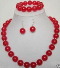 Natural 10mm Red Jade Necklace Bracelet Earrings Set AAA+