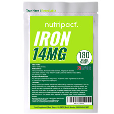 Iron Tablets 14mg x 180 One-a-Day, Energy Pregnancy Anaemic Supplement - Vegan