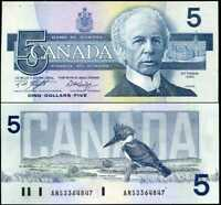 CANADA 5 DOLLARS 1986 P 95 e KNIGHT DODGE AUNC ABOUT UNC