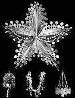 Deluxe LARGE foil SILVER hanging Christmas Decorations Choose Design