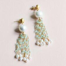 Pearl and Aqua Chalcedony Gemstone Tassel Earrings by Parken Jewelry