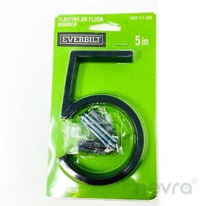Everbilt Adress Sign House Number 5 Elevated Black Floating or Flush 5 in.