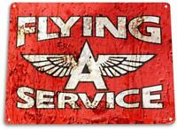 Flying A Service Gas Oil Metal Decor Fuel Station Sign