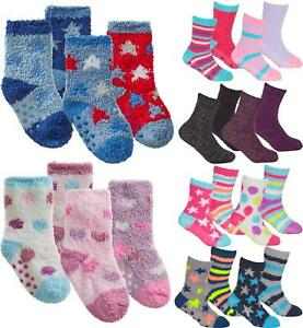 Babies & Kids Cosy Socks Soft Fluffy Lounge Slipper Bed Sock with Grips 4 Pairs
