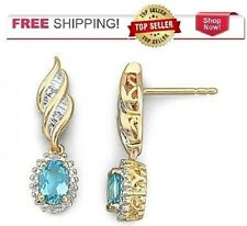 14k Yellow Gold Over Sterling Silver Blue Topaz & Diamond Earrings