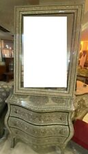 Antique Egyptian Wood Sideboard, Inlaid Mother of Pearl with Wall Mounted Mirror