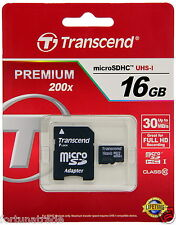 "16gb Transcend micro SDHC Karte Cl.10 + Adapter TS16GUSDHC10 ""Fortuna Trade 16GB"