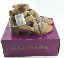 Rampage Havarti Sandals Womens Sz 6.5 Taupe Strappy Heeled Shoes