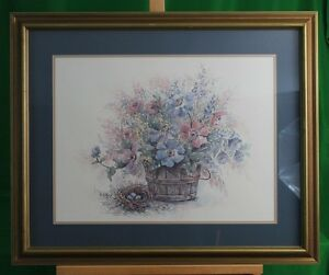 LIMITED EDITION SIGNED AND NUMBERED FRANKIE BUCKLEY PRINT POTTED GARDEN FLOWERS