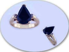 618 KT GOLD OVER STERLING SILVER SAPPHIRE & DIAMOND RING-8