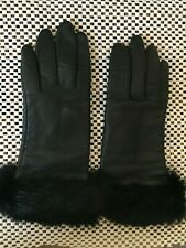 Girls Black Small PVC Gloves With Fur Trim Size 7