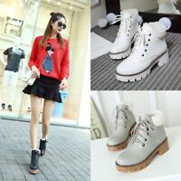 Sweet Winter Women Fur Lining Chunky Heel Lace Up Platform Lolita Buckle Boots
