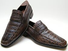 DONALD J PLINER RITTER BRN ALLIGATOR CROCO PRINT LOAFER DRESS SHOES SZ 7.5~1/2 M