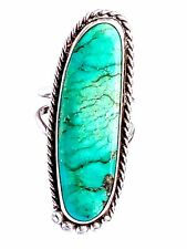 authentic vtg native American sterling turquoise twisted ring 5 9GR Signed BC